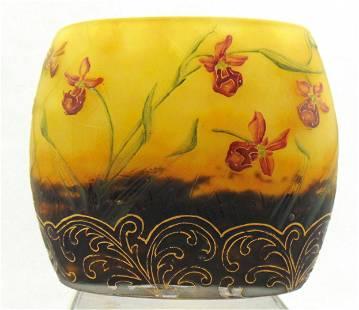 Daum Nancy spider and orchard vase