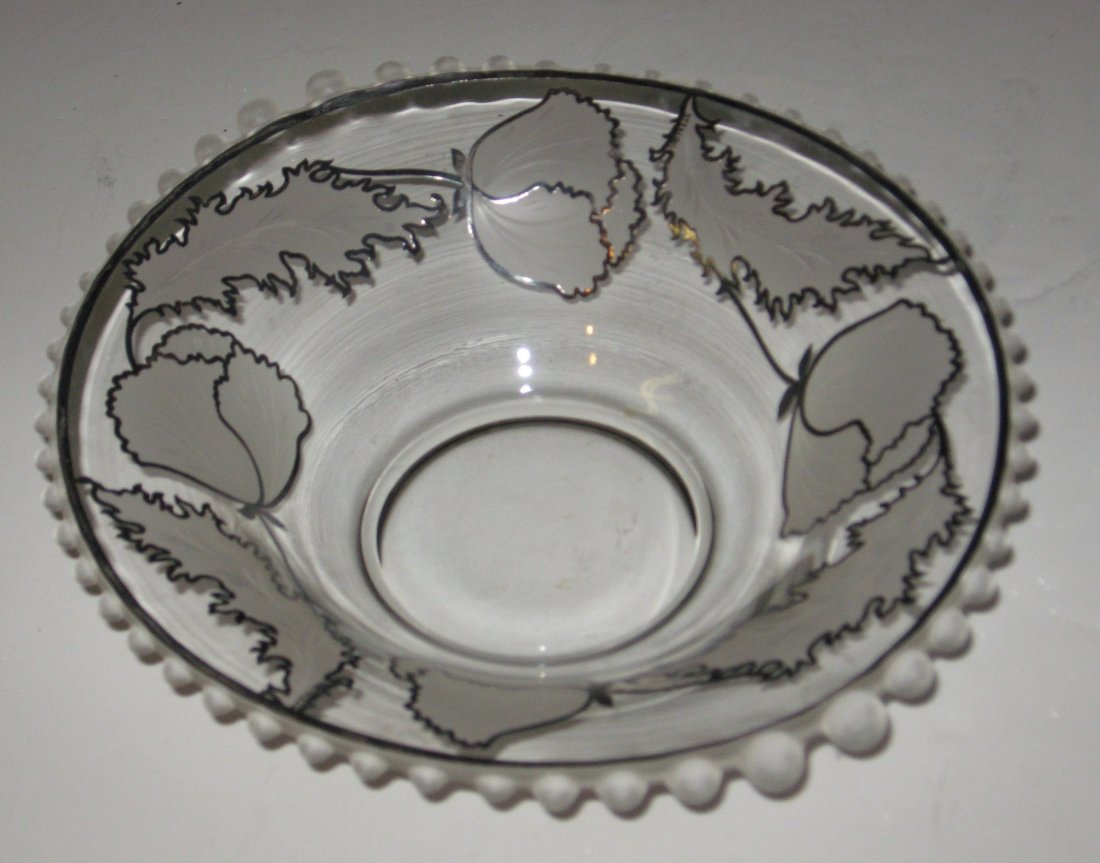 252: Silver overlay etched bowl,