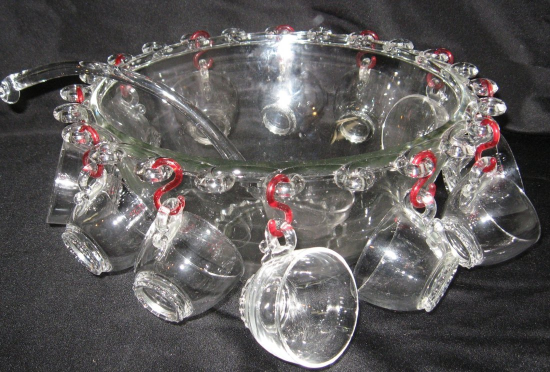 258: Heisey punch bowl and ladle,
