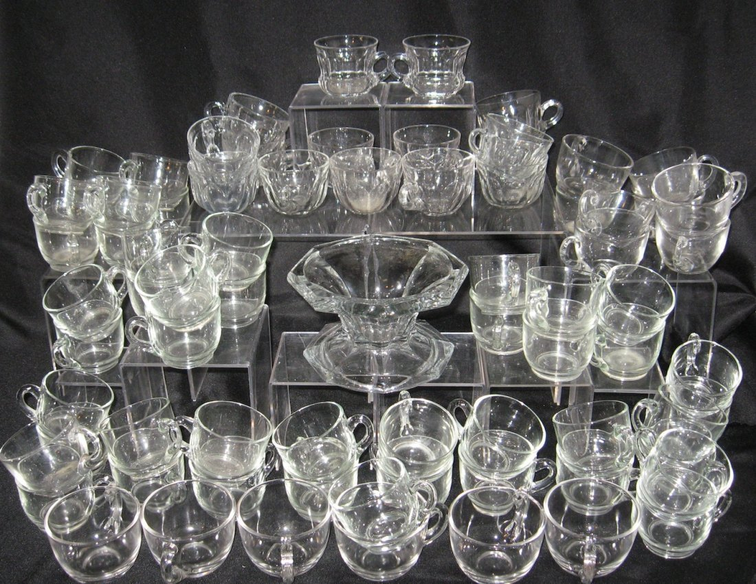 259: 76 piece grouping of Heisey punch cups,