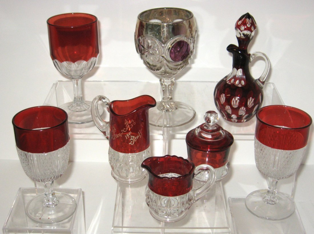 267: 8 piece grouping of Ruby Stained EAPG,