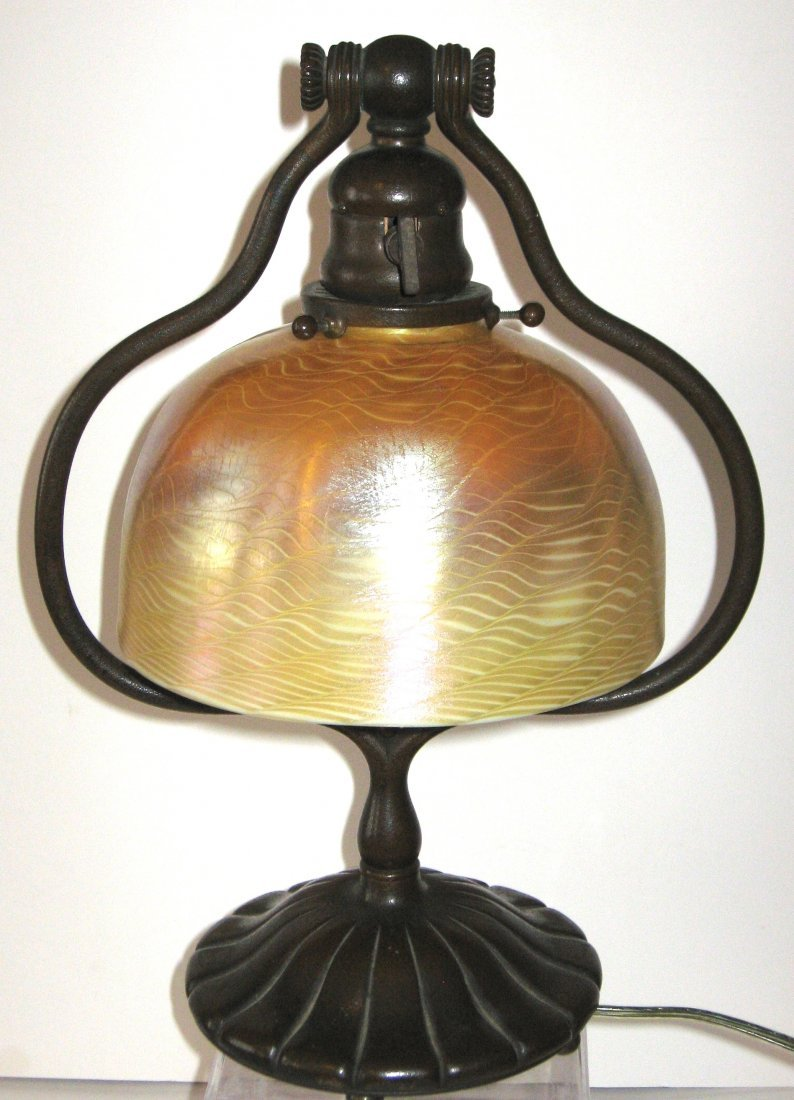 483: Tiffany gold Favrile Damascene lamp,