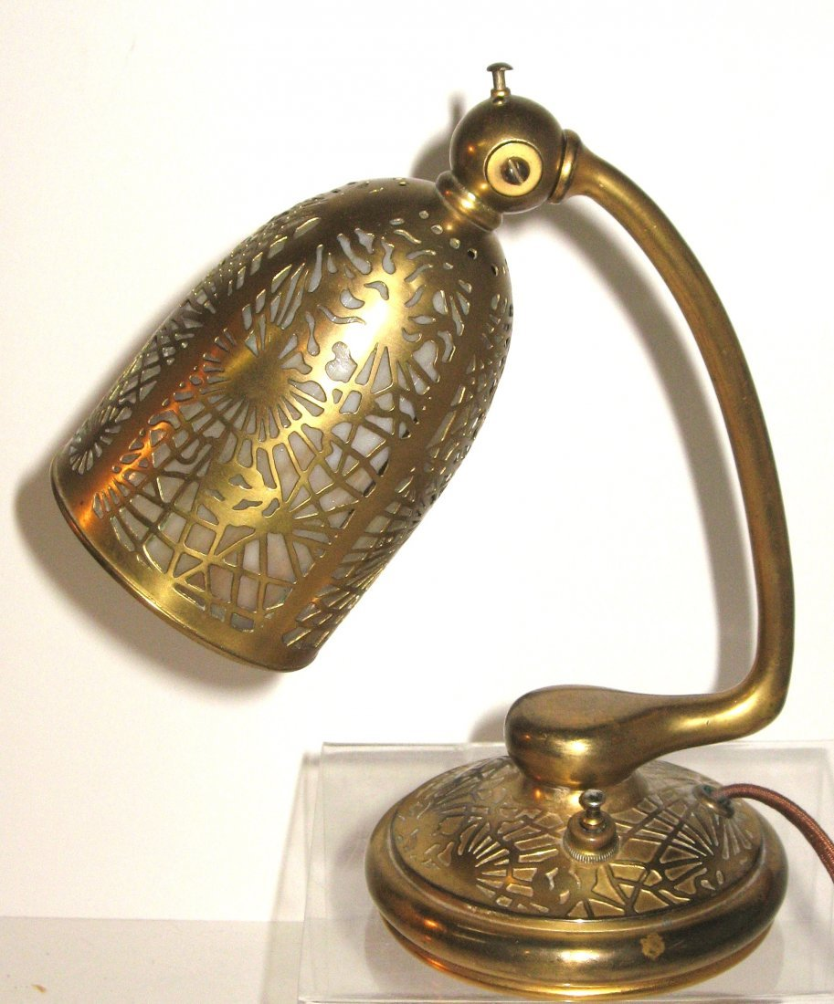 Louis C. Tiffany bronze and glass lamp,