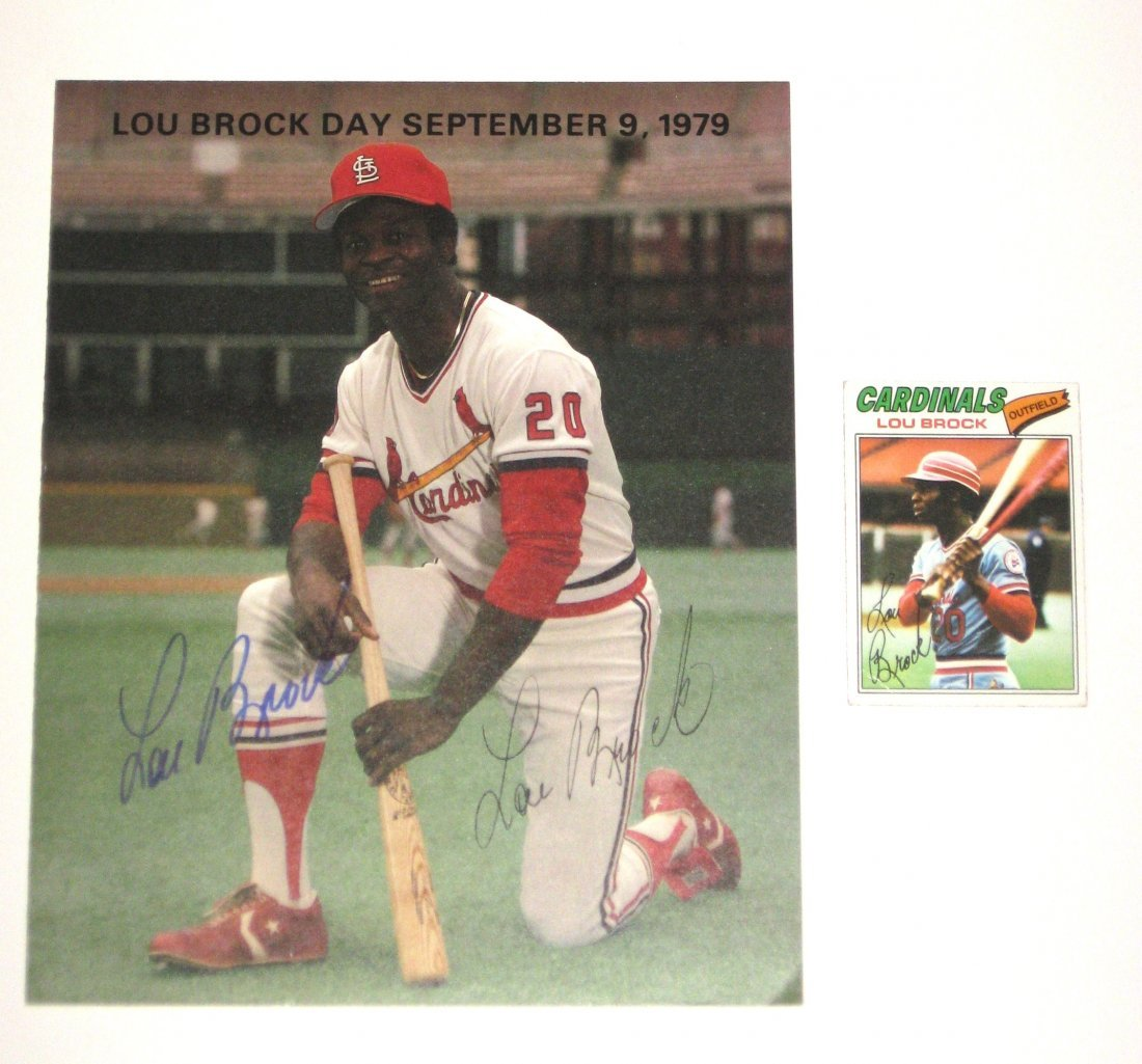 Signed Lou Brock poster,