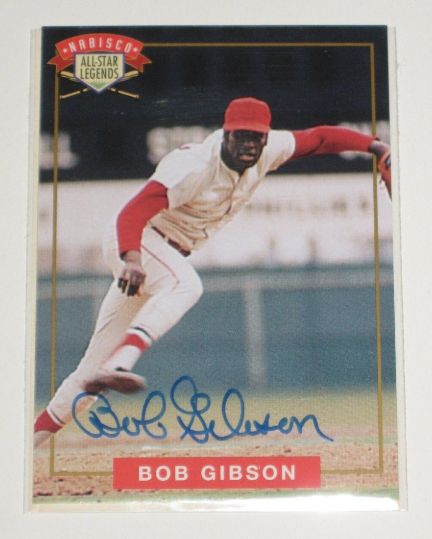 Bob Gibson autograph baseball card,