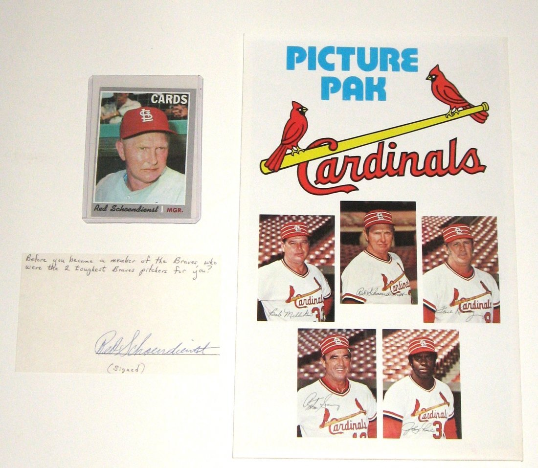 Red Schoendienst autograph, card, picture pack