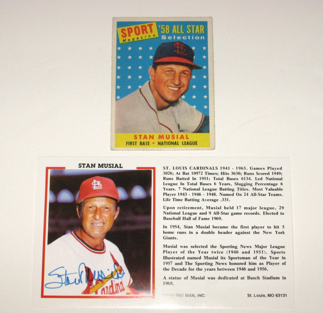 Stan Musial autograph card and 58 all star card,