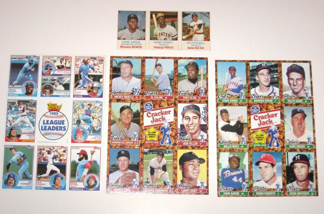 Three uncut sheets of baseball cards,
