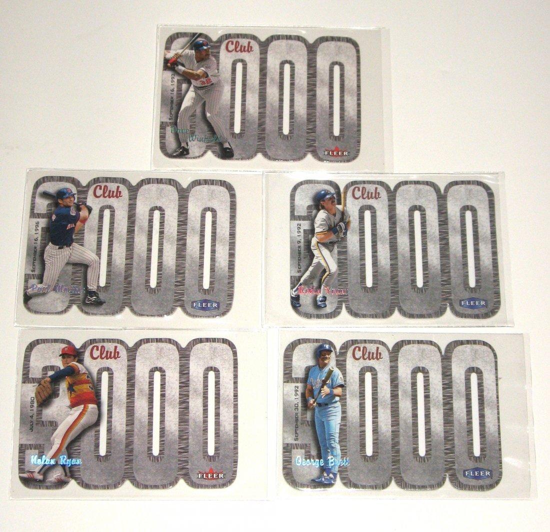 Five 3000 Club baseball cards,