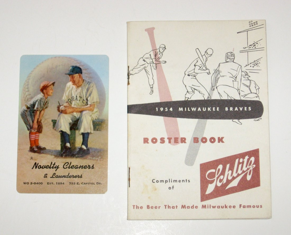 Two 1954 Milwaukee Braves items,