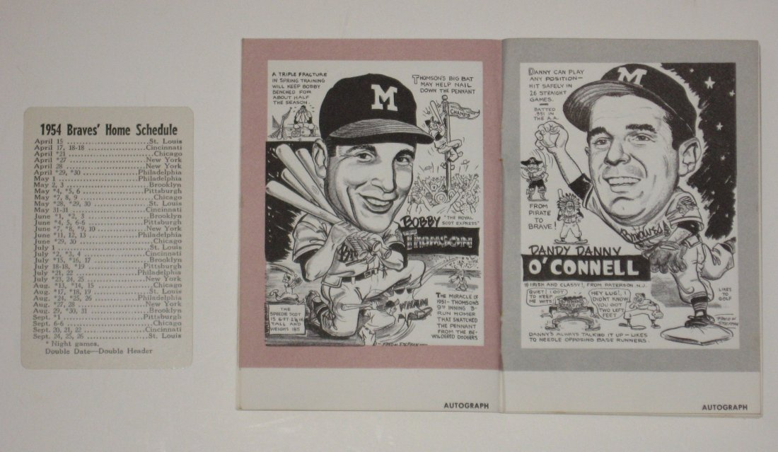 Two 1954 Milwaukee Braves items, - 2