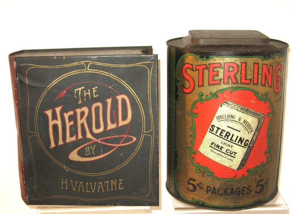 Two advertising tins,