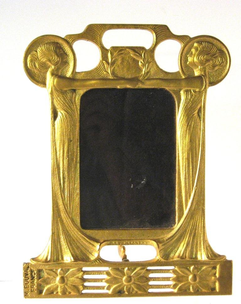 Art Nouveau Gilt metal standing mirror,