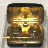 Double leather travel inkwell,