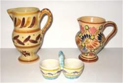 (3) pcs. Quimper - two pitchers & salt,