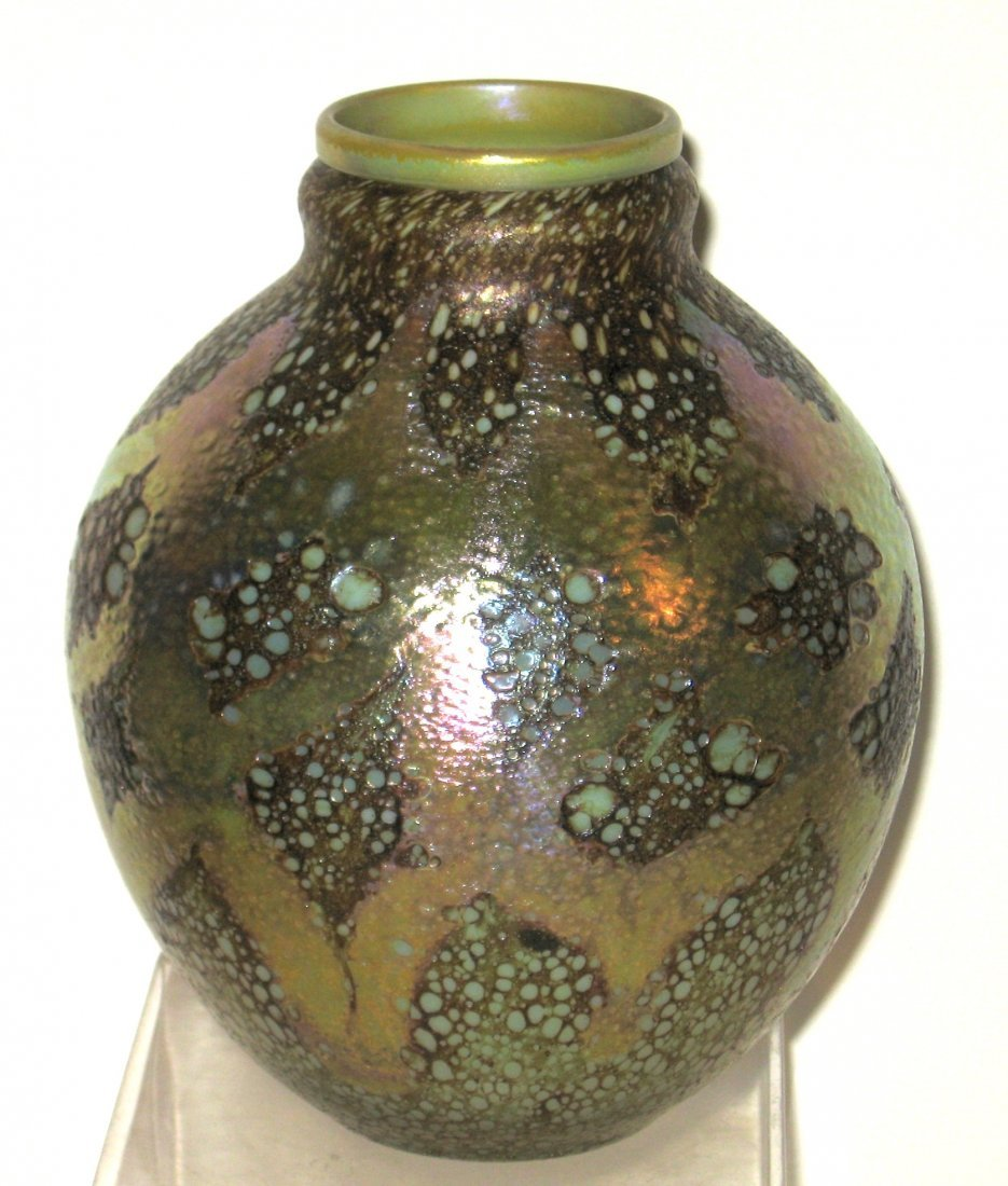 Rare Tiffany decorated Cypriot glass vase,