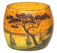 Daum Nancy scenic French cameo vase,