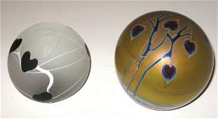 Two Contemporary art glass paperweights,