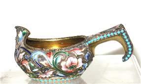 Russian enameled Silver Kvosh,