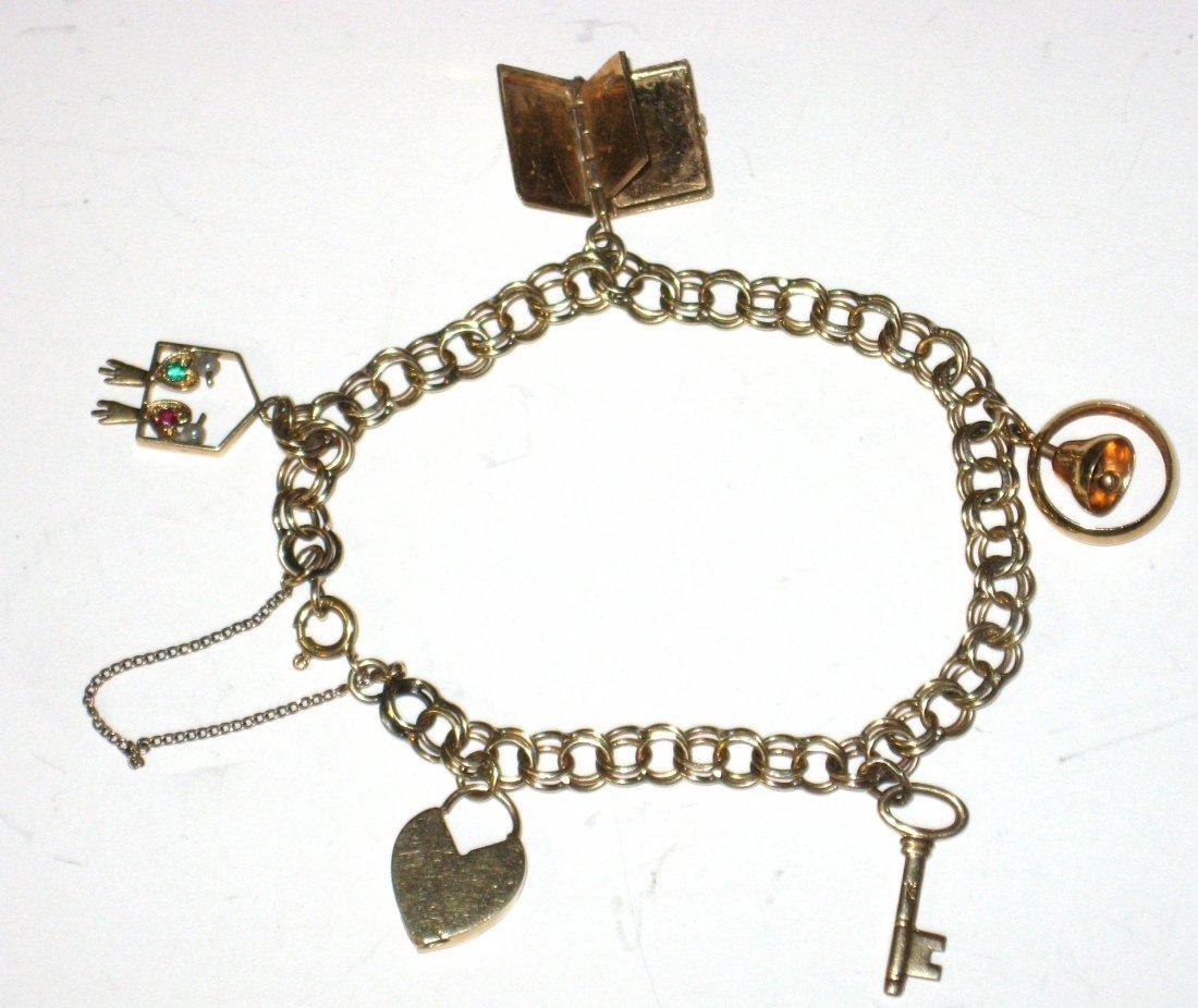 14K Gold Charm bracelet,