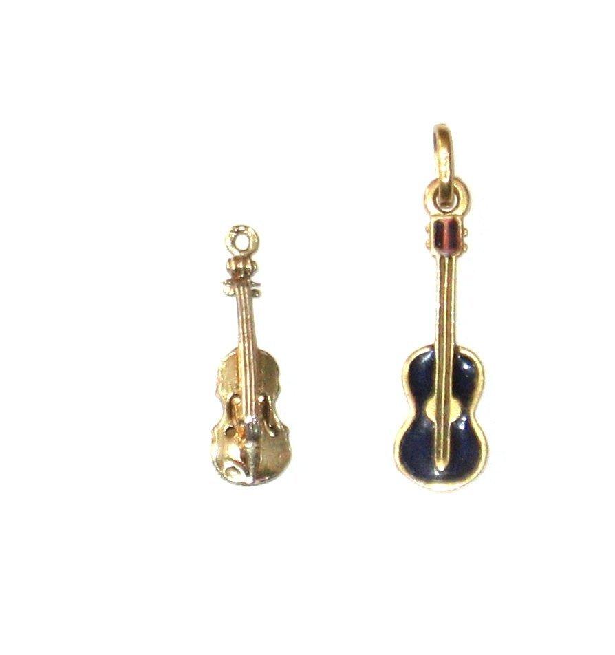 2 musical 14k gold charm pendent,