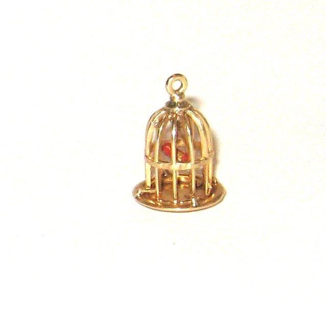 14K gold bird cage charm,