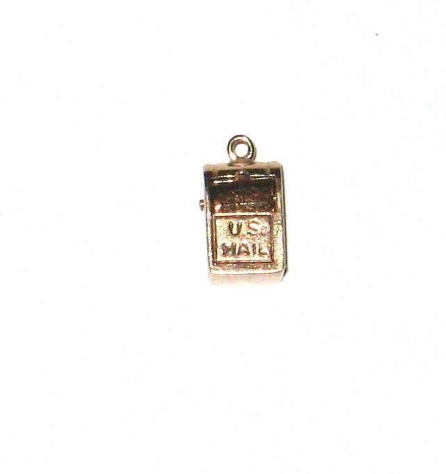 14K gold mailbox charm,