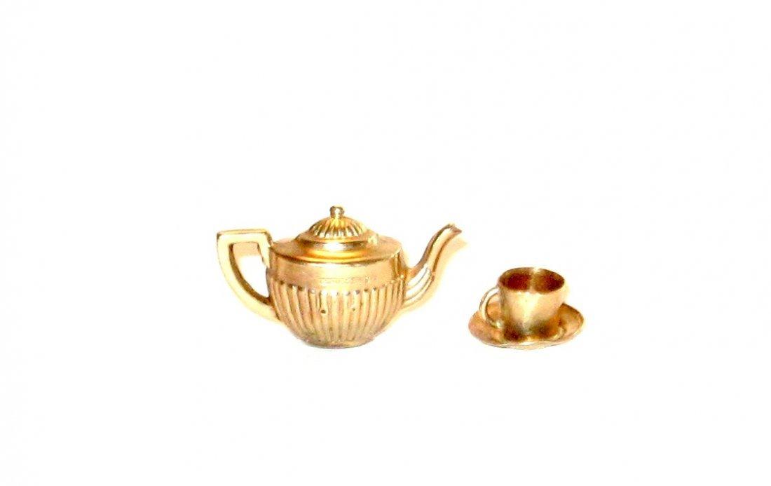 9K gold tea pot and tea cup charm,