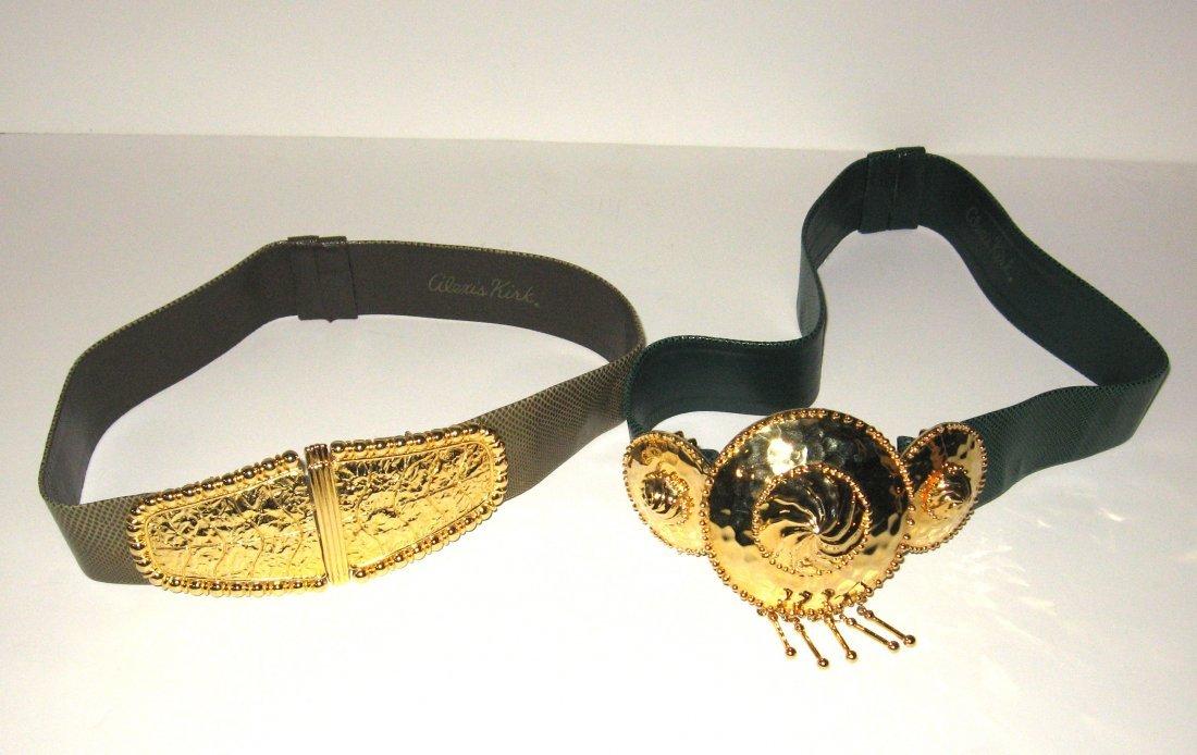 Two Alexis Kirk snake skin adjustable belts,