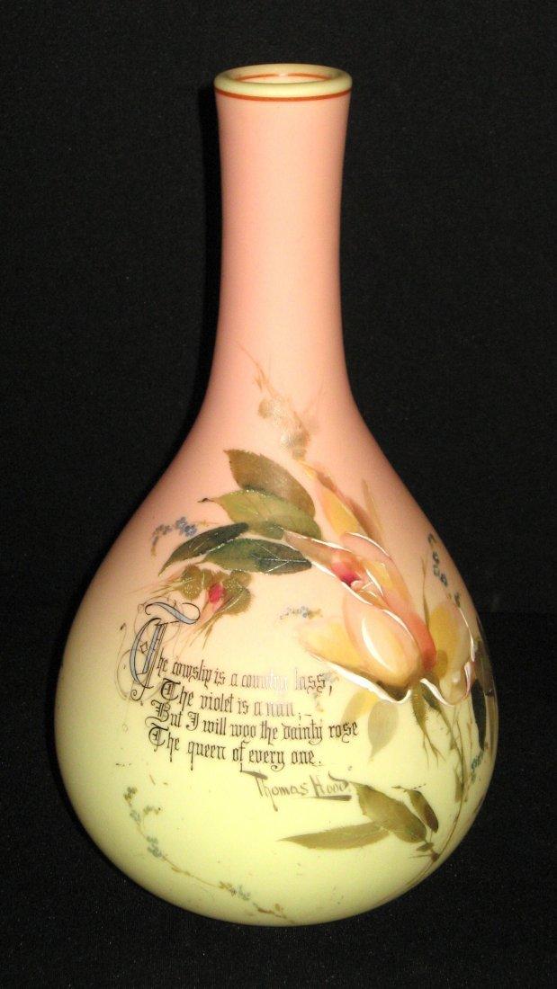Mt. Washington decorated Burmese vase,