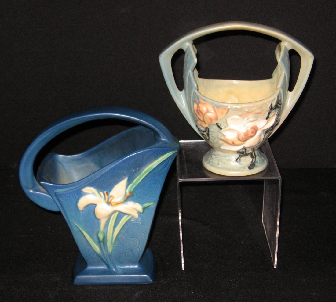 Two Roseville pottery baskets,