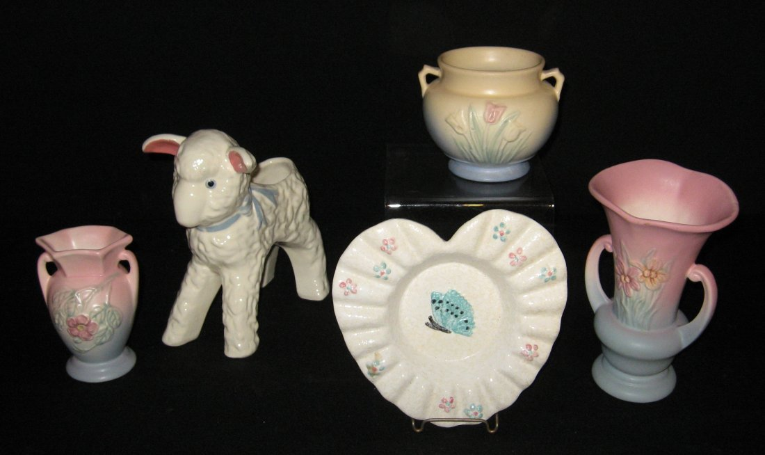 Five piece grouping of Hull pottery,