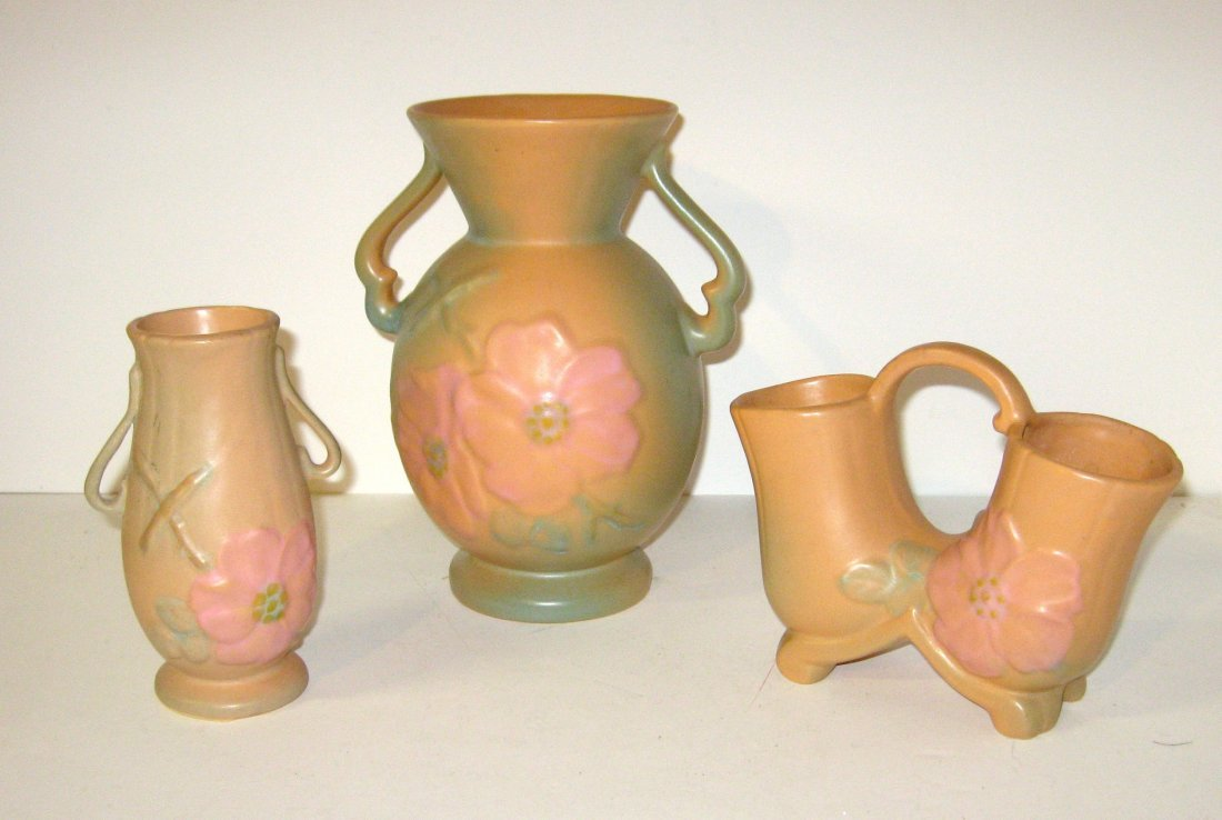 Group of Weller Wild Rose pottery items,