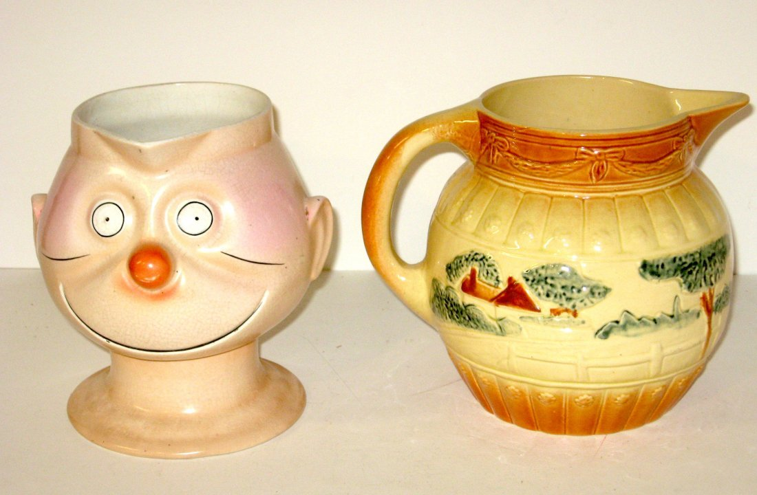 Two American pottery pitchers, Roseville,