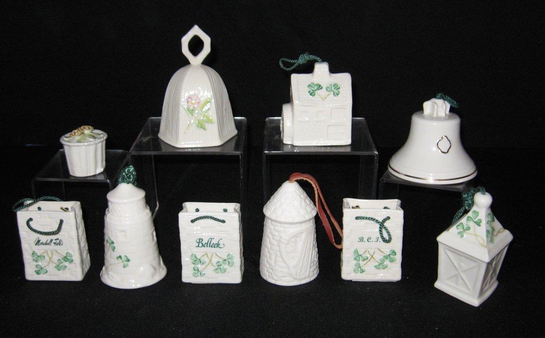 Ten Belleek Christmas ornaments,