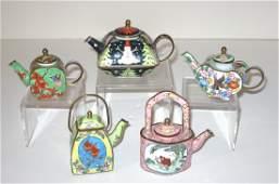 Five enameled metal diminutive tea pots