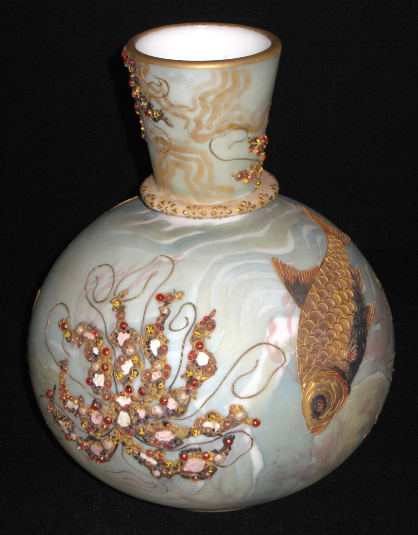 Mt. Washington Crown Milano fish vase,