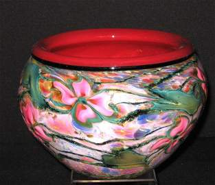 Charles Lotton colorful Cypriot glass bowl,