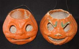 Two Paper Mache Jackolanterns