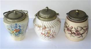 Three English pottery cracker jars