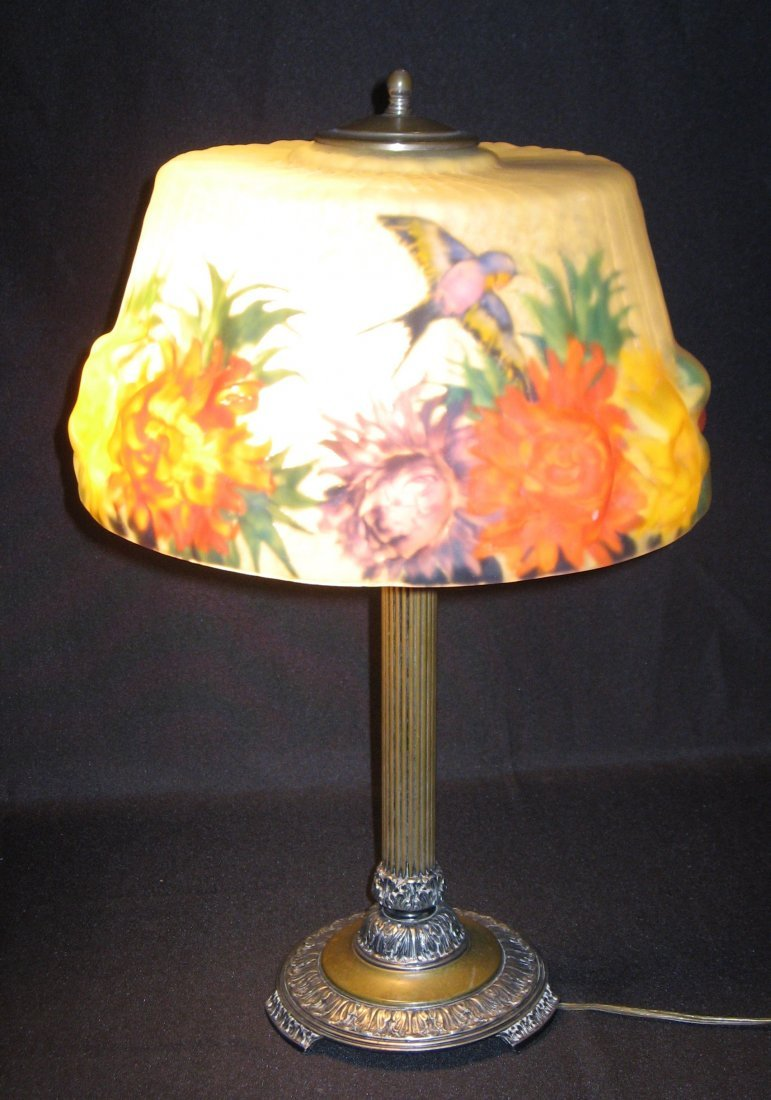 Pairpoint puffy reverse painted lamp,