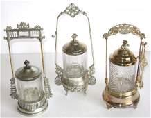 Three Victorian pickle castors,
