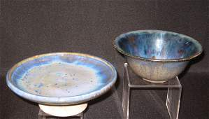 Two Fulper blue  pottery items