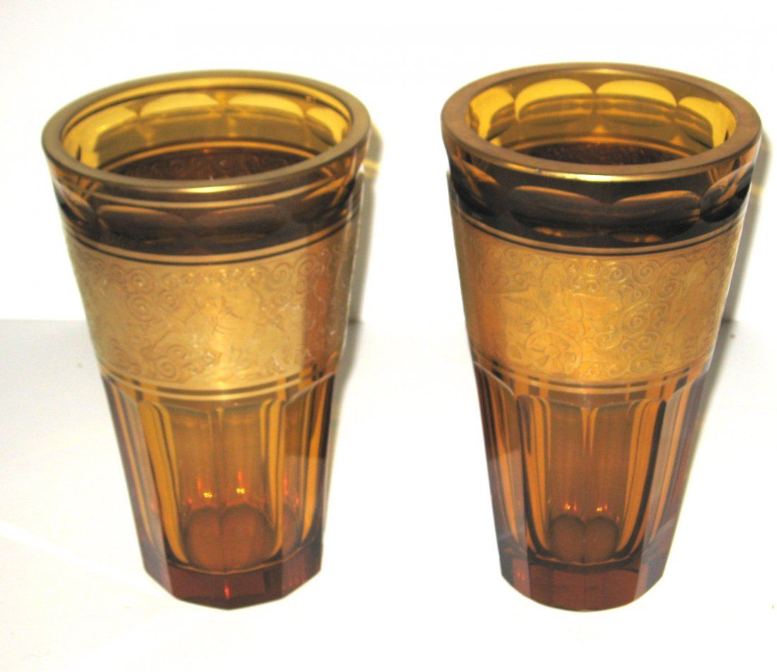 Pair of Moser amber faceted glass vases,