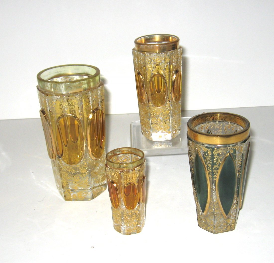 Set of four Moser glass tumblers,
