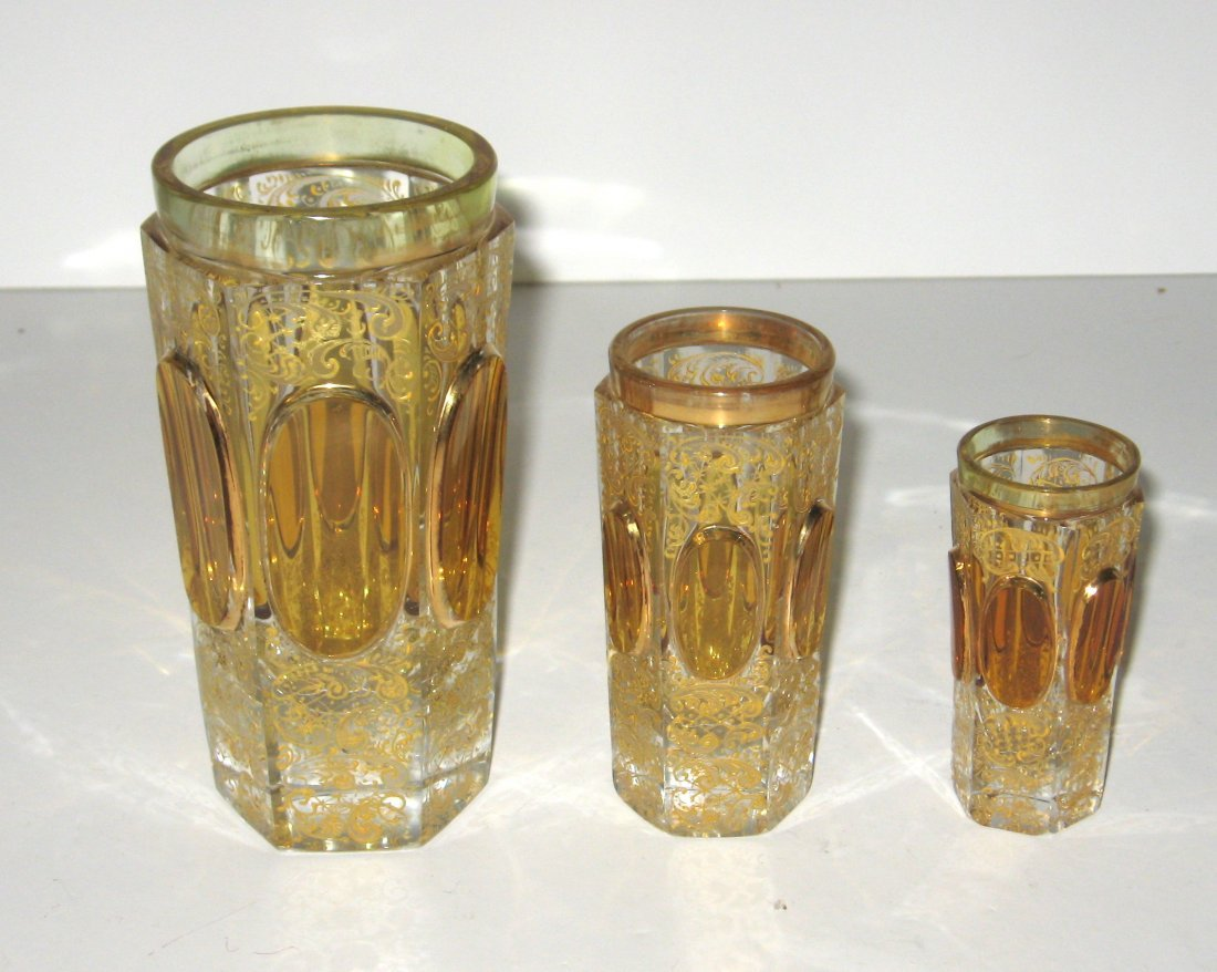 Set of four Moser glass tumblers, - 2