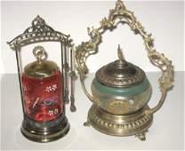 Two Victorian glass pickle castors,