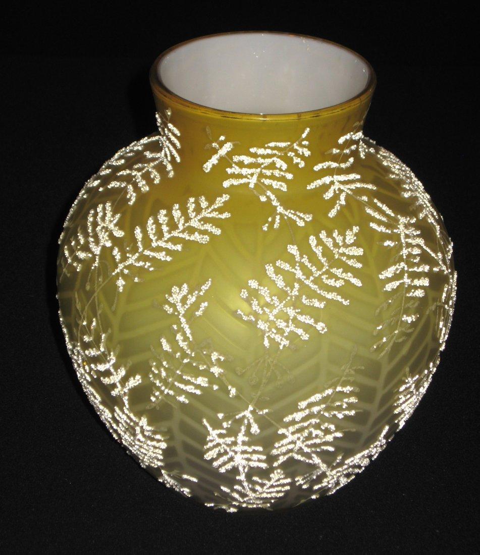 Victorian Coralene MOP glass vase,