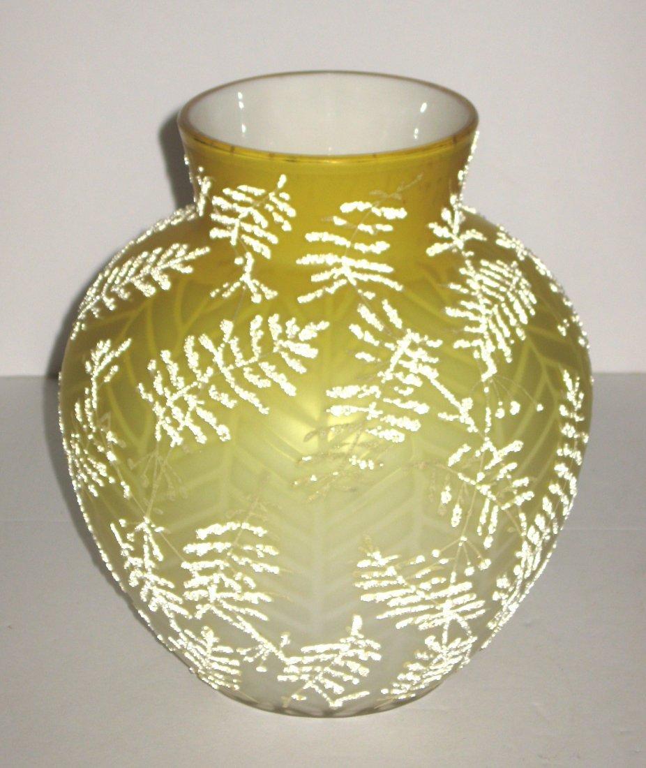 Victorian Coralene MOP glass vase, - 2