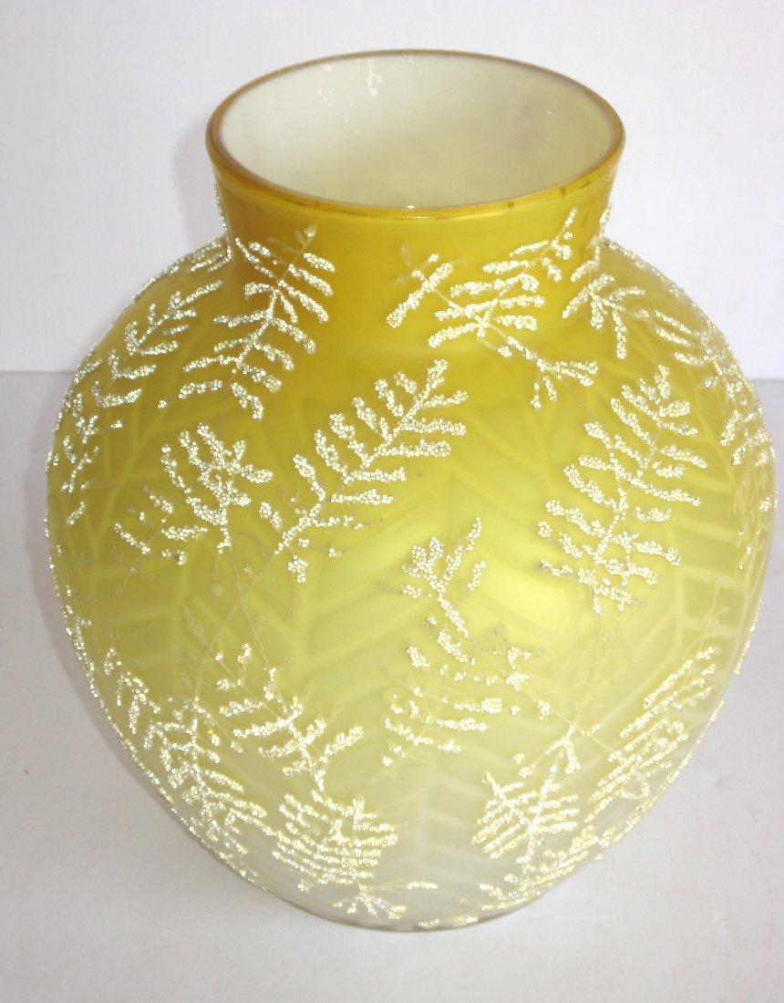 Victorian Coralene MOP glass vase, - 3